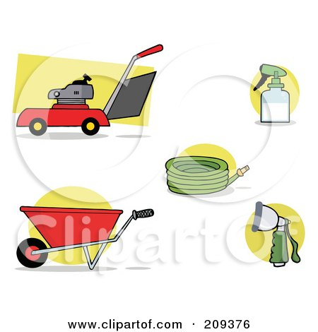 Royalty-Free (RF) Clipart Illustration of a Digital Collage Of A Lawnmower, Wheel Barrow, Hose, Spray Bottle And Nozzle by Hit Toon