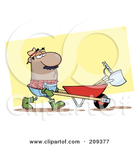 Royalty-Free (RF) Clipart Illustration of a Hispanic Guy Landscaper Pushing A Rake And Shovel In A Wheelbarrow by Hit Toon