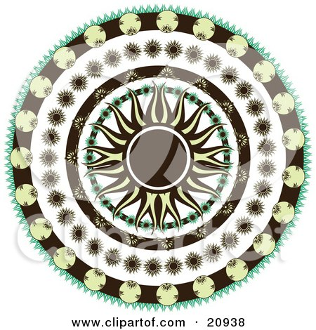 Retro Black And Yellow Sun In The Center Of A Circle Of Floral Patterns Over A White Background Posters, Art Prints