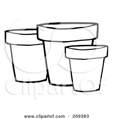 Royalty-Free (RF) Clipart Illustration of Three Outlined Terra Cotta Pots by Hit Toon