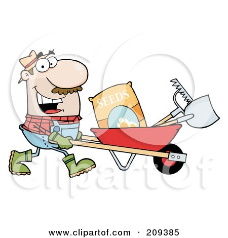Caucasian Male Landscaper Pushing Seeds, A Rake And Shovel In A Wheelbarrow Posters, Art Prints