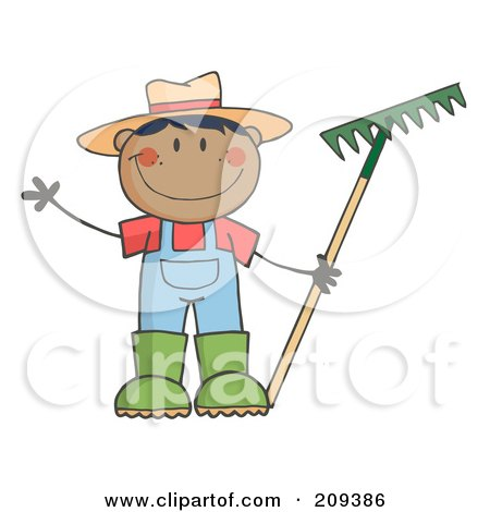 Royalty-Free (RF) Clipart Illustration of a Black Farmer Boy Holding A Rake And Waving by Hit Toon