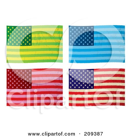 Royalty-Free (RF) Clipart Illustration of a Digital Collage Of Colorful Grungy American Flags by michaeltravers
