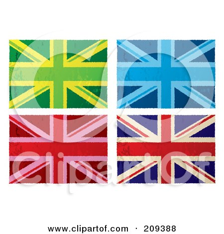 Royalty-Free (RF) Clipart Illustration of a Digital Collage Of Colorful Grungy British Flags by michaeltravers
