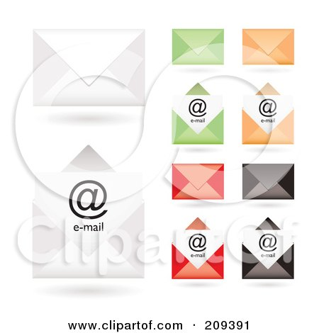 Royalty-Free (RF) Clipart Illustration of a Digital Collage Of Colorful Email Envelope Icons by michaeltravers