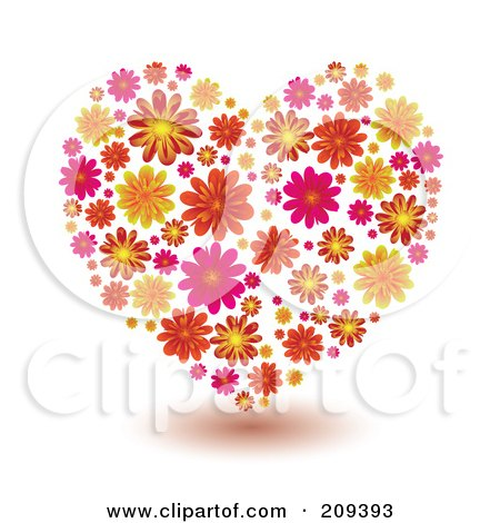 Royalty-Free (RF) Clipart Illustration of a Pattern Of Orange, Yellow And Pink Flowers Forming A Heart by michaeltravers