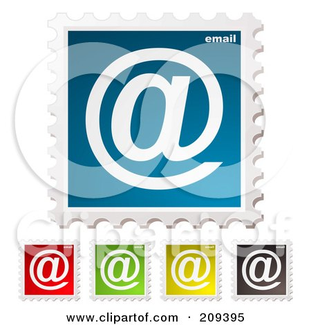 Royalty-Free (RF) Clipart Illustration of a Digital Collage Of Colorful Email Postage Stamps by michaeltravers