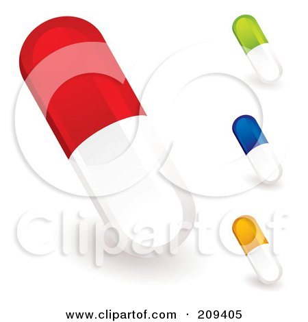 Royalty-Free (RF) Clipart Illustration of a Digital Collage Of Colorful Pill Capsules by michaeltravers