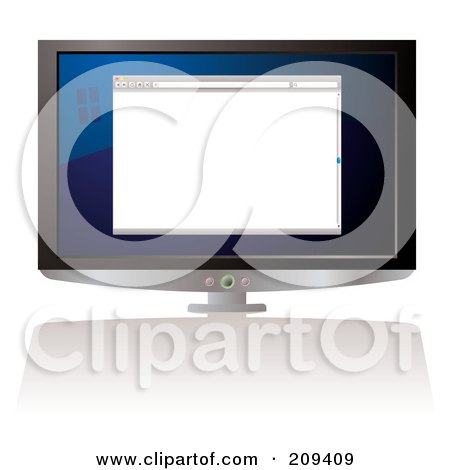 Royalty-Free (RF) Clipart Illustration of a Computer Screen With A Blank Web Browser by michaeltravers