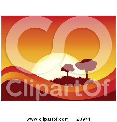 Clipart Illustration of a Deep Orange And Yellow Sunset Over Rolling Hills, Silhouetting Two Trees by elaineitalia