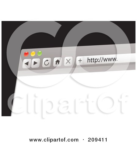 Royalty-Free (RF) Clipart Illustration of a Computer Web Browser With A Blank Page by michaeltravers