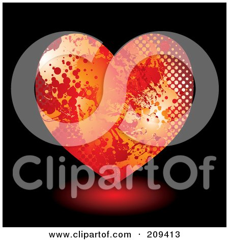 Royalty-Free (RF) Clipart Illustration of a Grungy Red And Orange Halftone Splatter Heart Over Black by michaeltravers