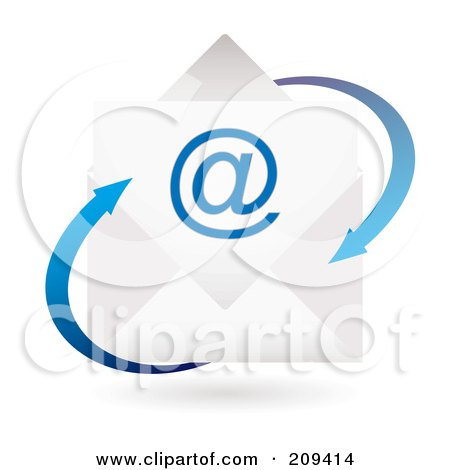 Royalty-Free (RF) Clipart Illustration of a 3d Email Envelope Icon With Blue Arrows by michaeltravers