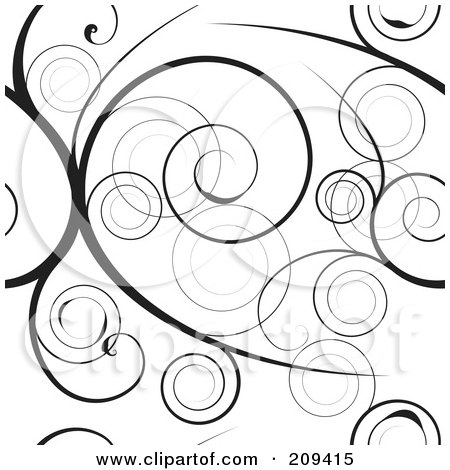 Royalty-Free (RF) Clipart Illustration of a Seamless Black Swirly Vine Pattern Over White by michaeltravers