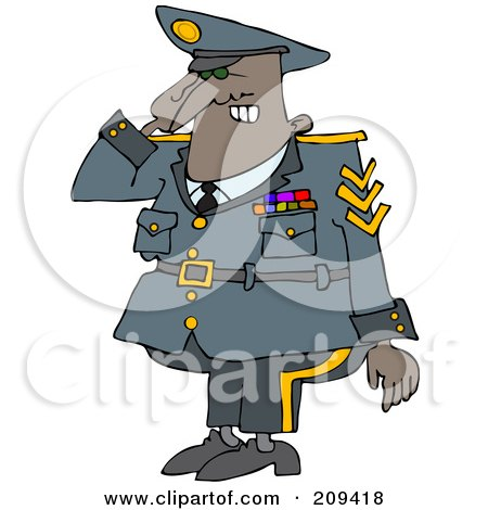 Royalty-Free (RF) Clipart Illustration of a Black Army Man Saluting by djart