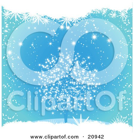 Clipart Illustration of a Blue Wintry Christmas Background Of Snow Falling On A Bare Tree by elaineitalia