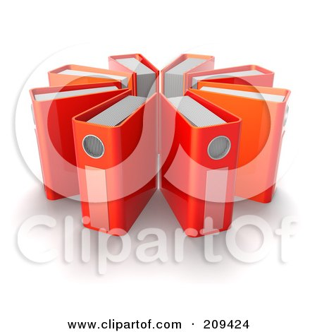 Royalty-Free (RF) Clipart Illustration of a Circle Of 3d Red Ring Binders by Tonis Pan