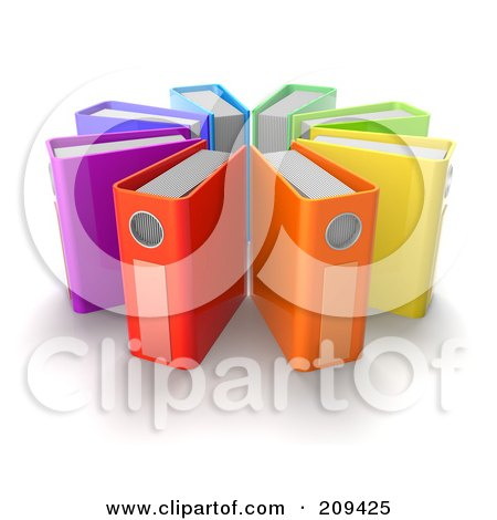 Royalty-Free (RF) Clipart Illustration of a Circle Of 3d Colorful Ring Binders by Tonis Pan