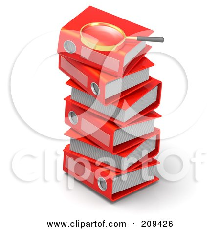 Royalty-Free (RF) Clipart Illustration of a 3d Magnifying Glass On Top Of A Stack Of Red Binders by Tonis Pan