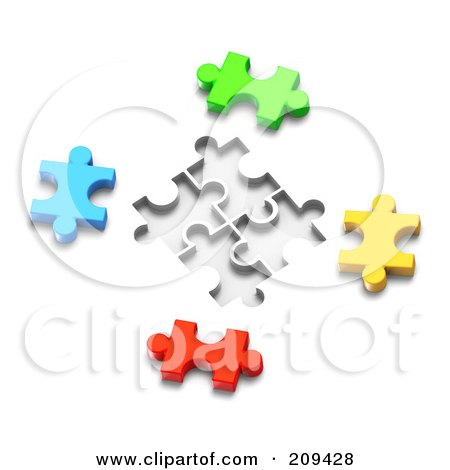 Royalty-Free (RF) Clipart Illustration of a 3d Colorful Puzzle Pieces With Spaces For Them by Tonis Pan