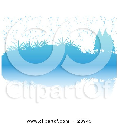 Clipart Illustration of a Blue Wintry Christmas Scene Of Snow Falling On Evergreen Trees And Plants Reflecting In Water by elaineitalia