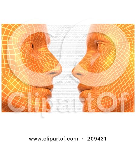 Royalty-Free (RF) Clipart Illustration of 3d Orange Virtual Heads Gazing At Each Other Over Binary Code by Tonis Pan