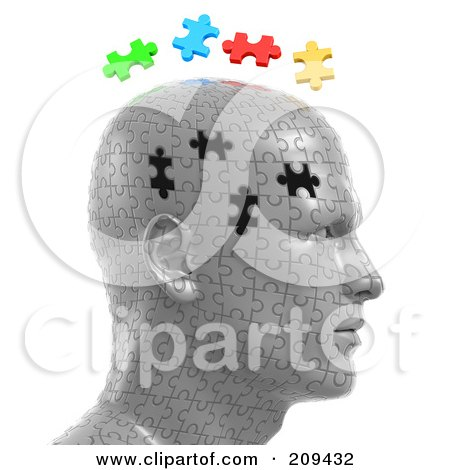 Royalty-Free (RF) Clipart Illustration of 3d Puzzle Head With The Colorful Pieces Floating Over The Empty Spaces by Tonis Pan