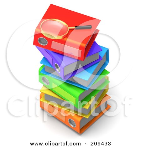 Royalty-Free (RF) Clipart Illustration of a 3d Magnifying Glass On Top Of A Stack Of Colorful Binders by Tonis Pan