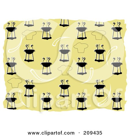 Royalty-Free (RF) Clipart Illustration of a Bbq And Chef Hat Pattern Background by mheld