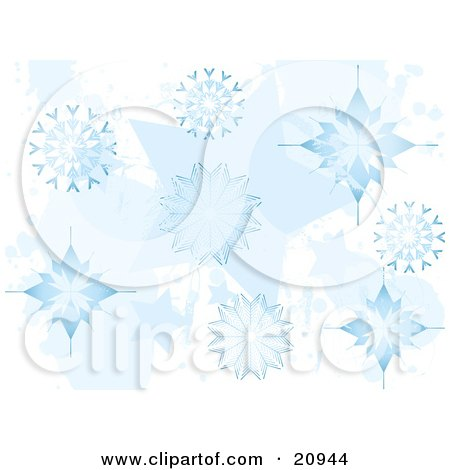 Clipart Illustration of a Christmas Background Of Elegant Blue Falling Wintry Snowflakes by elaineitalia