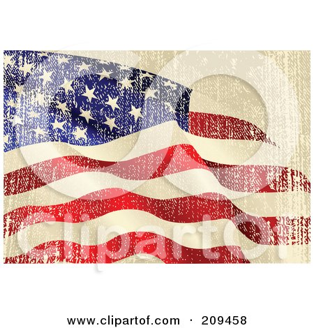 Royalty-Free (RF) Clipart Illustration of a Grungy Beige, Red, White And Blue American Flag Background With Distress Marks by Pushkin