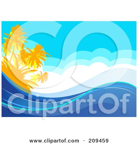 Royalty-Free (RF) Clipart Illustration of a Tropical Ocean Background With Palm Trees, Clouds And Waves by Pushkin