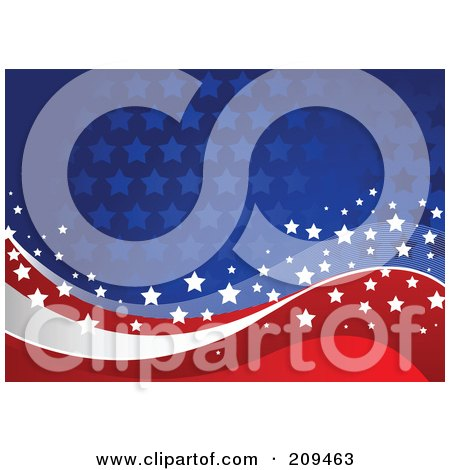 Blue Starry Background With Red, White And Blue Star Waves Posters ...