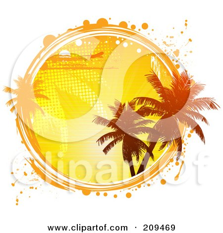 Royalty-Free (RF) Clipart Illustration of a Circle Of A Plane, Palm Trees And An Orange Sunset, With White And Orange Grunge Marks by elaineitalia