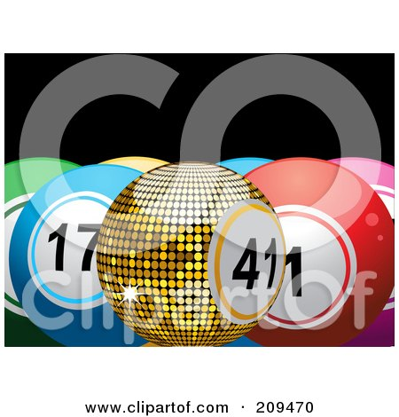 Royalty-Free (RF) Clipart Illustration of a Golden Bingo Or Lottery Ball With Colorful Solid Balls by elaineitalia