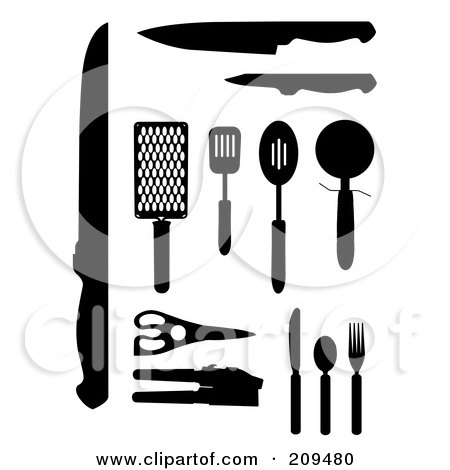 Royalty-Free (RF) Clipart Illustration of a Digital Collage Of Kitchen Tools by JR