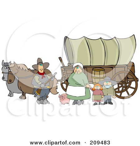 Royalty-Free (RF) Clipart Illustration of a Pioneer Family And Pig In Front Of Two Horses Pulling A Covered Wagon Along The Oregon Trai by djart
