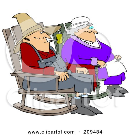 Relaxed Couple Sitting In Rocking Chairs Posters, Art Prints