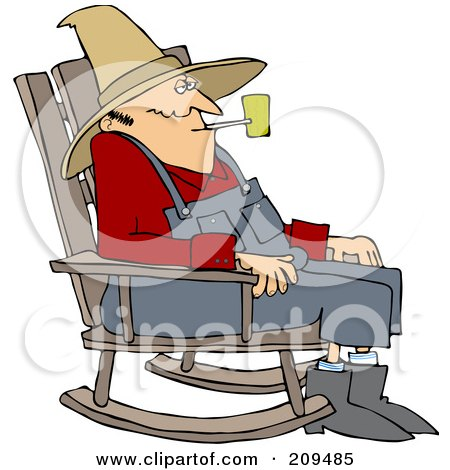 Royalty-Free (RF) Clipart Illustration of an Old Man Smoking A Pipe And Sitting In A Rocking Chair by djart