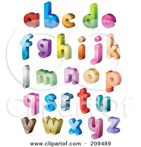 Royalty-Free (RF) Clipart Illustration of a Digital Collage Of 3d Isometric Colorful Lowercase Letters by BNP Design Studio