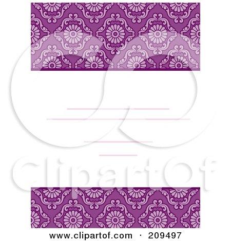 Royalty-Free (RF) Clipart Illustration of a Purple Damask Invitation Design by BNP Design Studio