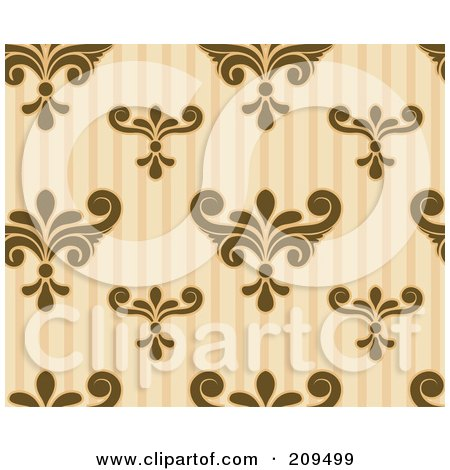 Royalty-Free (RF) Clipart Illustration of a Seamless Brown And Beige Damask And Stripe Pattern Background by BNP Design Studio