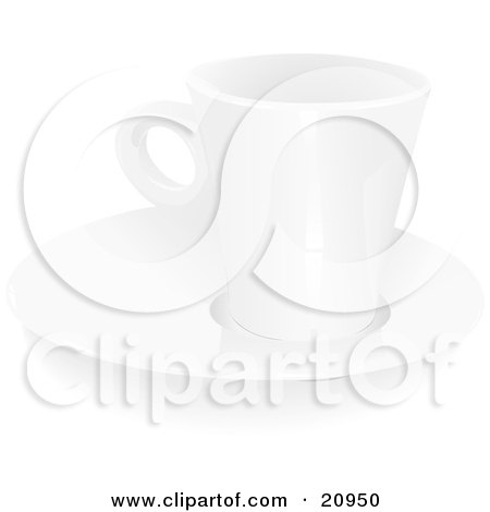Clipart Picture of a White Coffee Mug Resting On Top Of A Saucer Plate On A White Background by Paulo Resende