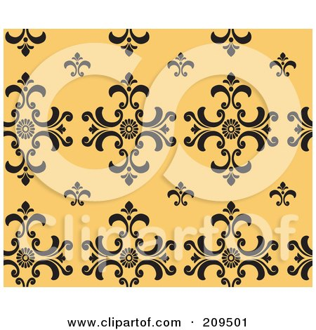 Royalty-Free (RF) Clipart Illustration of a Seamless Damask Pattern Background by BNP Design Studio