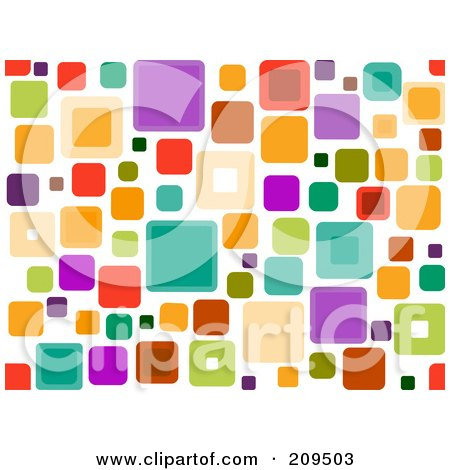 Royalty-Free (RF) Clipart Illustration of a Funky Seamless Square Pattern Over White by BNP Design Studio