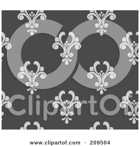 Royalty-Free (RF) Clipart Illustration of a Seamless Gray Damask Pattern Background by BNP Design Studio