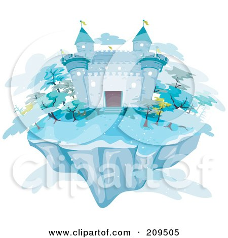 Royalty-Free (RF) Clipart Illustration of a Floating Island With An Icy Castle And Clouds by BNP Design Studio