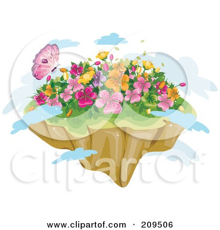Royalty-Free (RF) Clipart Illustration of a Butterfly And Spring Flowers On A Floating Island With Clouds by BNP Design Studio
