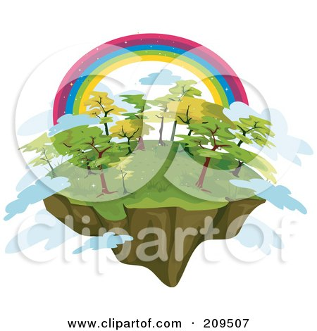 Royalty-Free (RF) Clipart Illustration of a Rainbow Over A Floating Island With Trees And Clouds by BNP Design Studio
