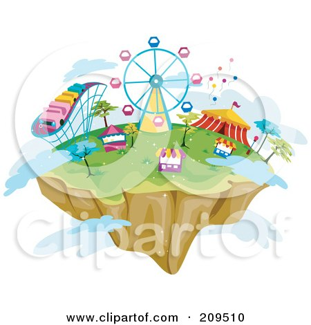 Royalty-Free (RF) Clipart Illustration of a Floating Island With Theme Park Rides, Booths, And Clouds by BNP Design Studio